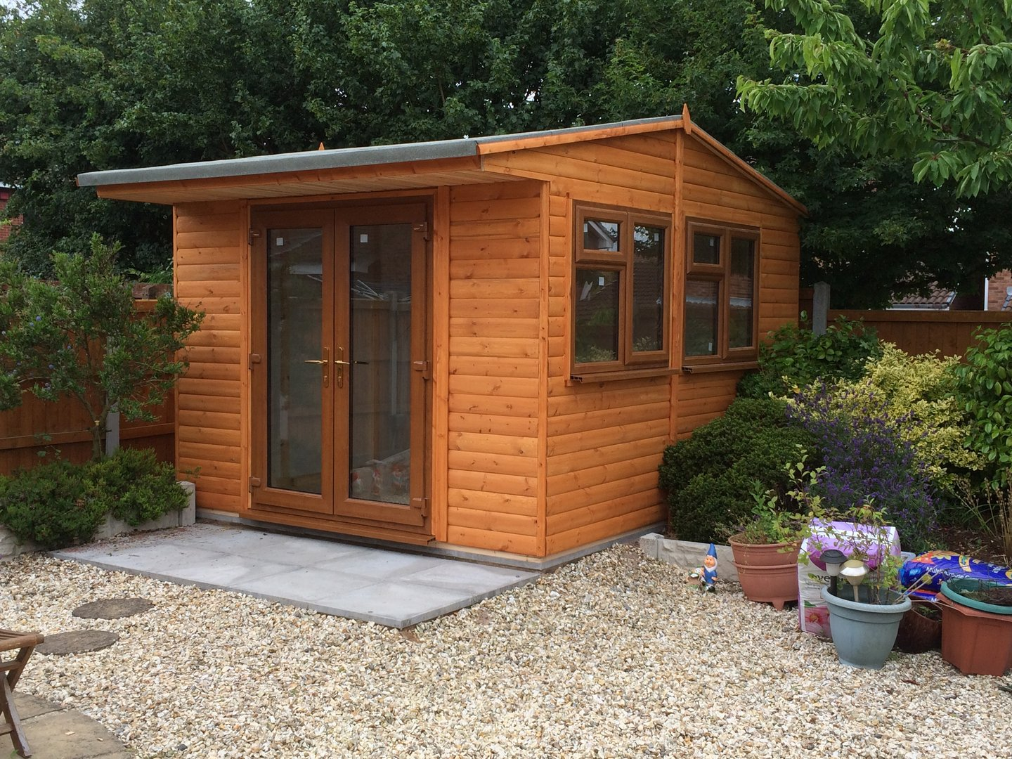 12 x 12 upvc office french doors storage shed for Garden shed 12x10